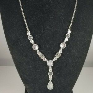 Avon Gray Clear Flat Bead Silver Tone Y Necklace